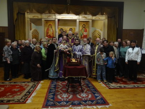 In the hall with Vladyka Antony after a Presanctified Liturgy in 2013.