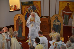Metropolitan holding the relics of the Martyr and Unmercenary Healer Pantelaimon.