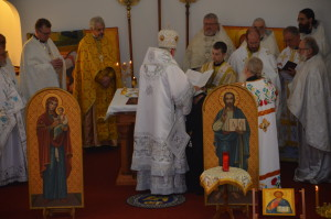 Vladyka Antony lays his hands on Deacon Michael.